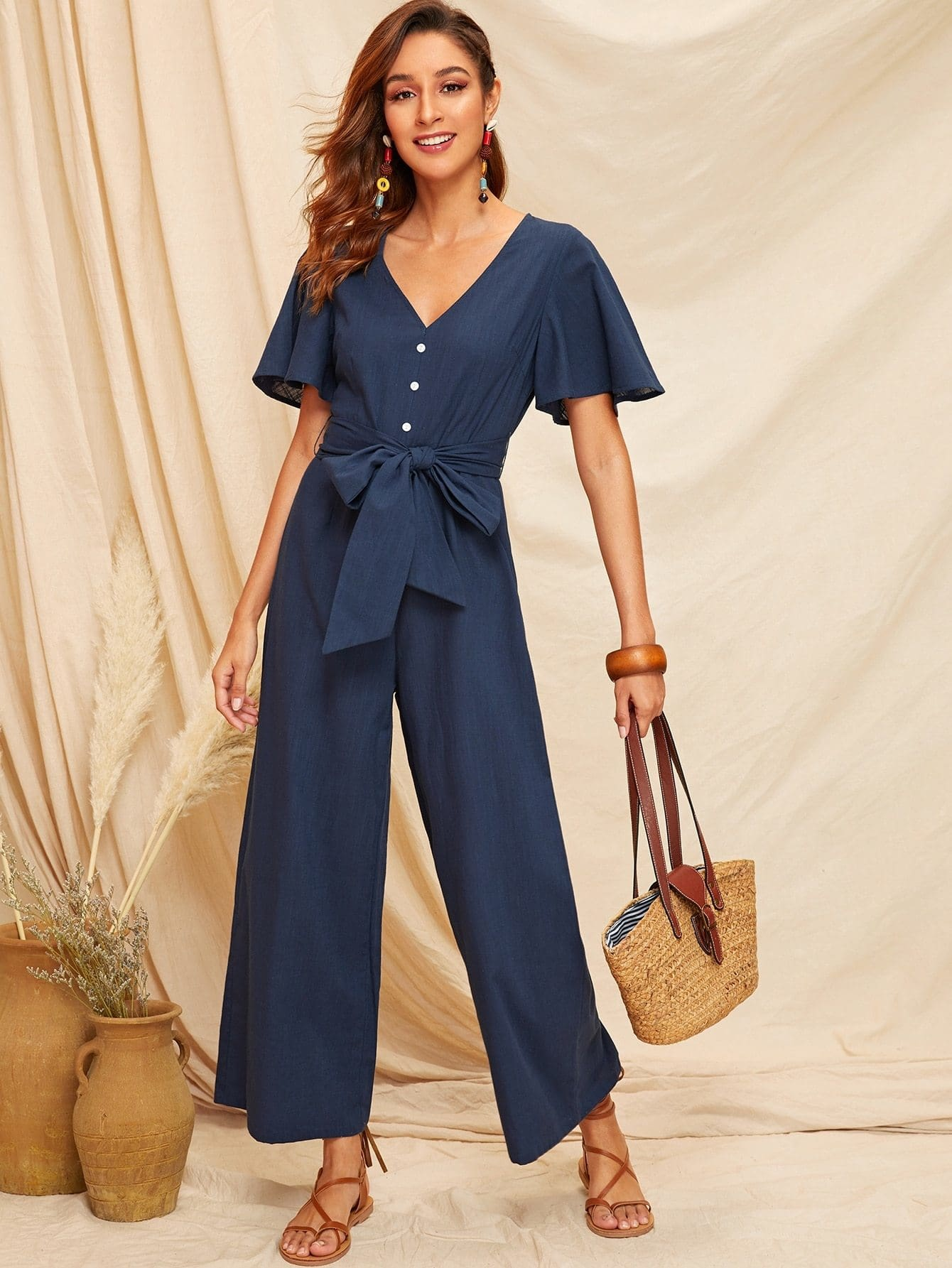 Buttoned Front Belted Wide Leg Jumpsuit - XS - Womens Jumpsuits
