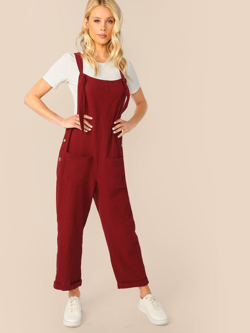 Buttoned Side Pocket Patch Pinafore Jumpsuit - XS - Womens Jumpsuits