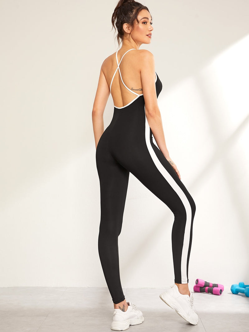 Contrast Side Seam Unitard Tank Jumpsuit