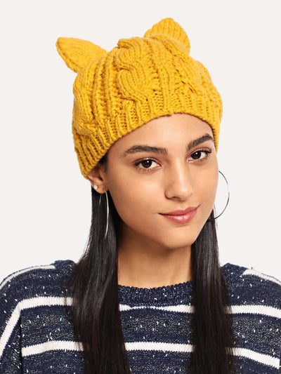 Cable Knit Beanie Hat - Hats & Gloves