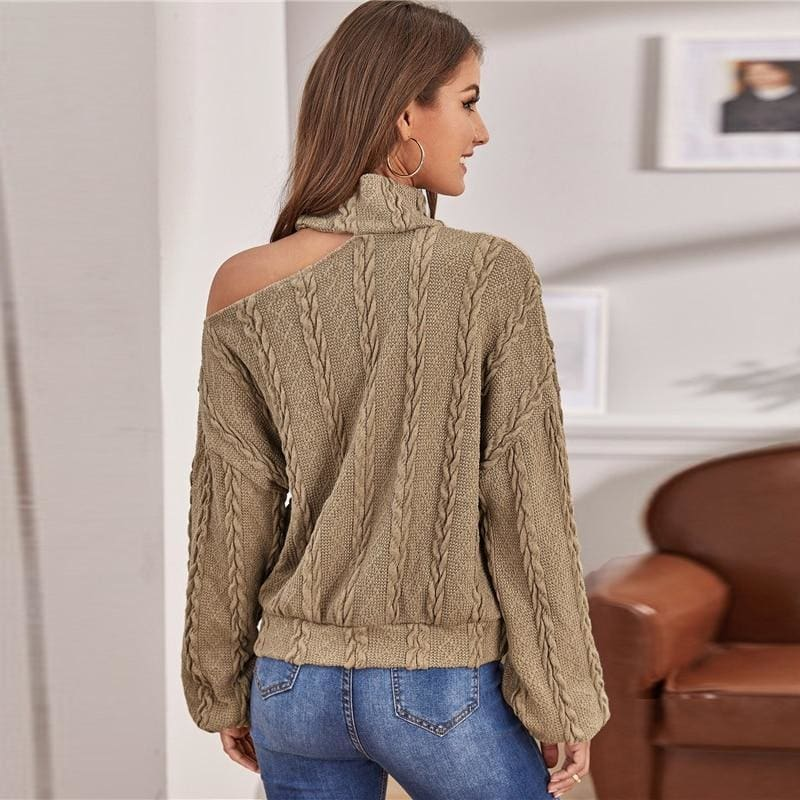 Cable Knit Cutout Shoulder Turtleneck Sweater - XS / Khaki - Hoodies & Sweatshirts