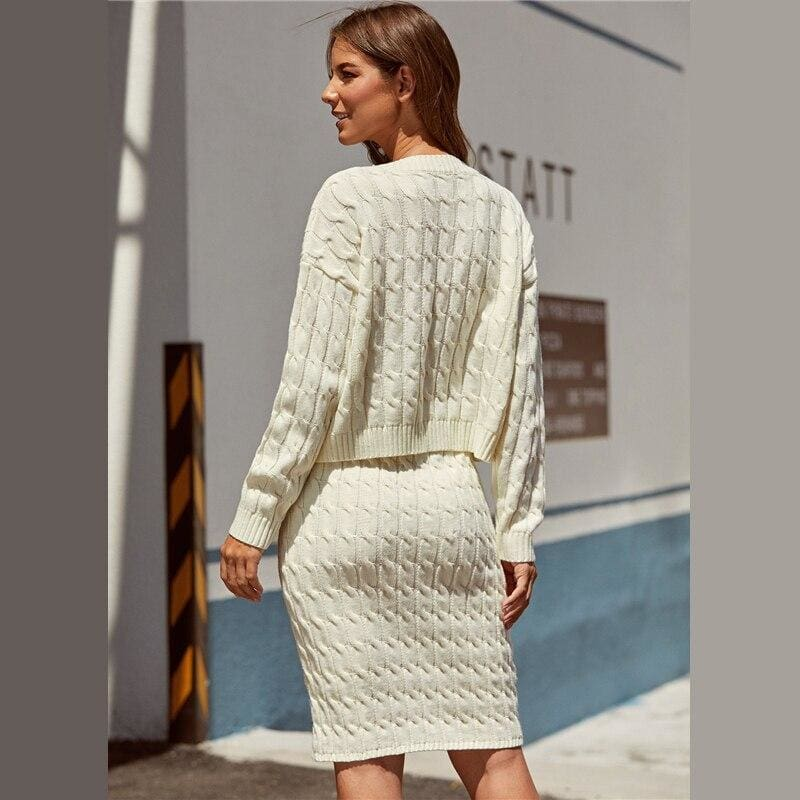 Cable Knit Sweater And Tie Waist Sweater Skirt Set - White / M - Womens Co-Ord Sets