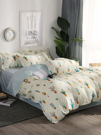 Cactus Print Duvet Cover - Bedding Sets
