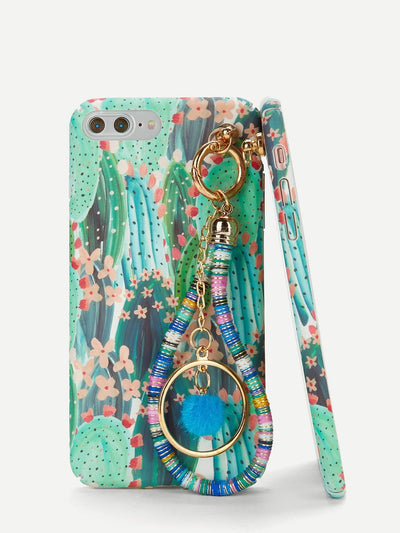 Cactus Print Iphone Phone Case With Charm - Phone Cases
