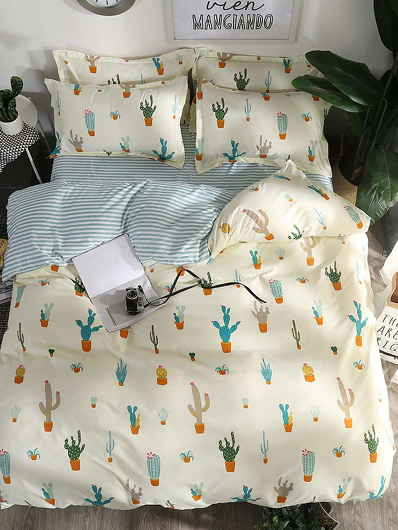 Cactus & Striped Print Sheet Set - Bedding Sets