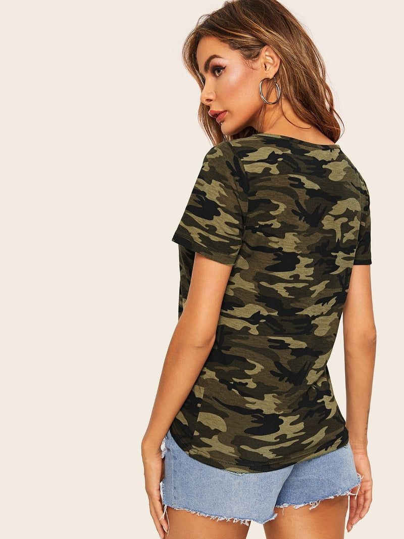 Cage Neck Camo Print Tee - XS - Shirts