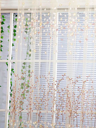 Calico Print Rod Pocket Sheer Curtain 1pc - Curtains