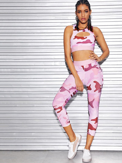 Camo Print Cut Out Crop Top With Pants - Sportsuit