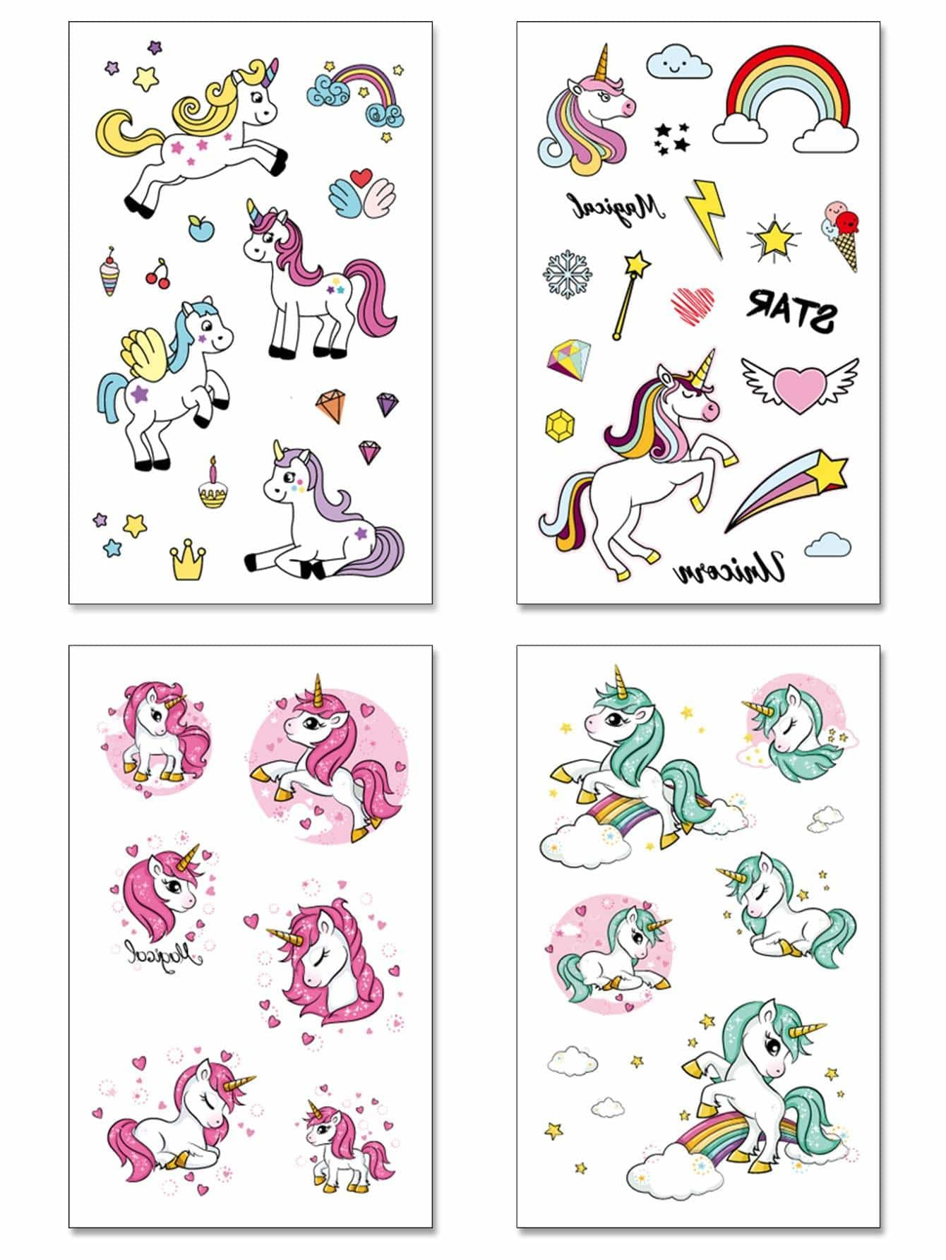 Cartoon Animal Pattern Tattoo Stickers 4Sheets - Beauty Tools