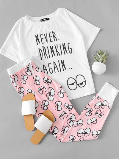 Cartoon Eye Print Tee And Pants Pajama Set - Nightwears