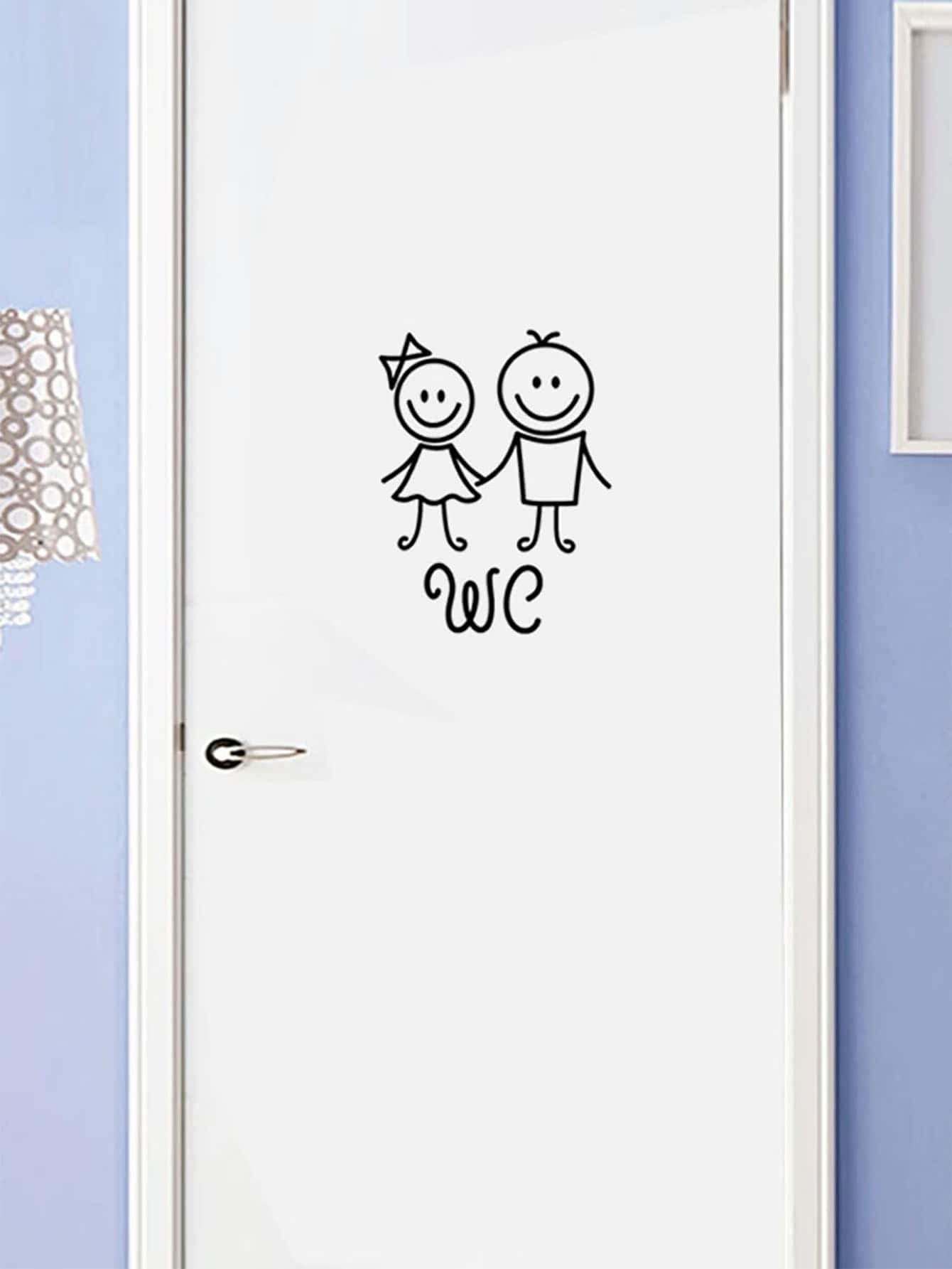 Cartoon Print Door Sticker - Wall Art