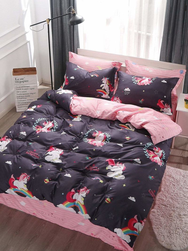 Cartoon & Striped Print Sheet Set - Bedding Sets