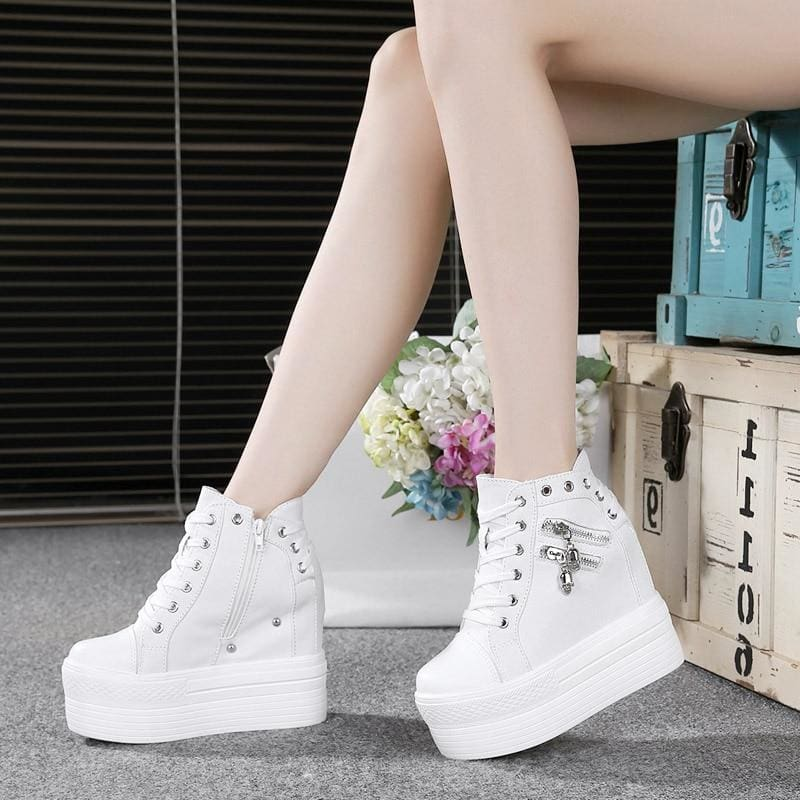 Casual Zipper Platform Sneakers - Womens Sneakers