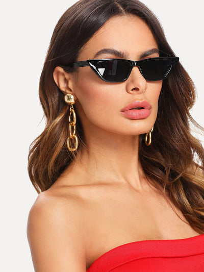 Cat Eye Mirror Lens Sunglasses - Sunglasses