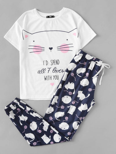 Cat Print Tee And Pants Pajama Set - Nightwears
