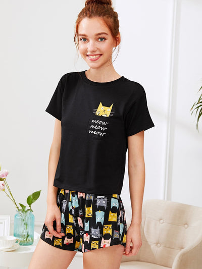 Cat Print Tee & Shorts Pj Set - Nightwears