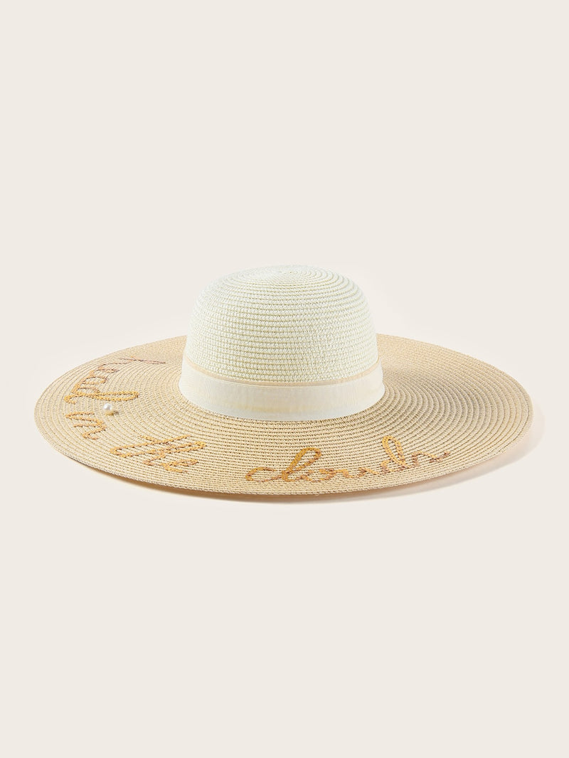 Sequin Letter Decor Floppy Hat