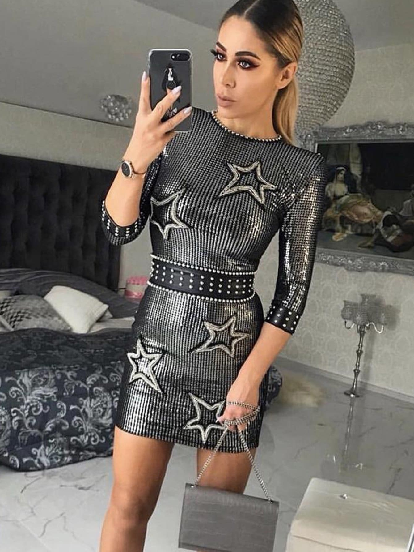 Celebrity Three Quarter Sleeve Sequin Party Mini Dress - As Photo / S - Dresses