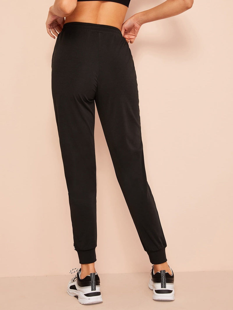 Checked Print Tapered Sweatpants - S - Fittness Leggings