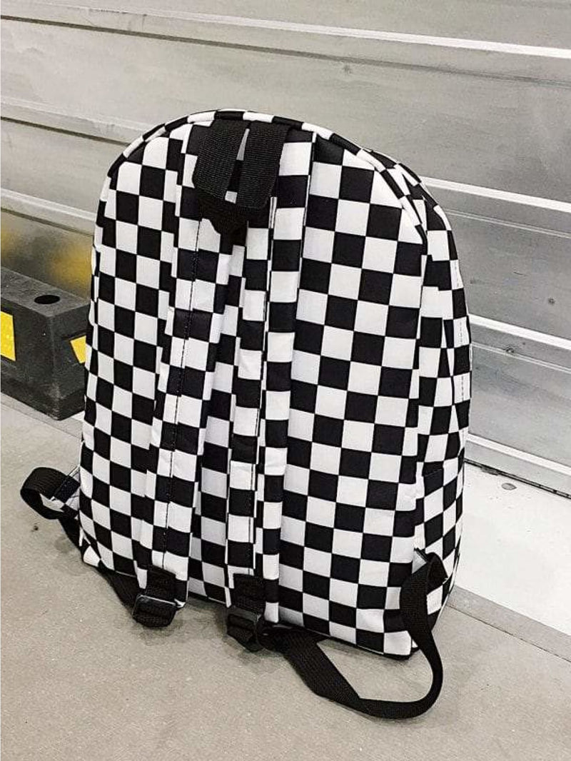 Checker Metal Ring Detail Festival Backpack - Womens Bag