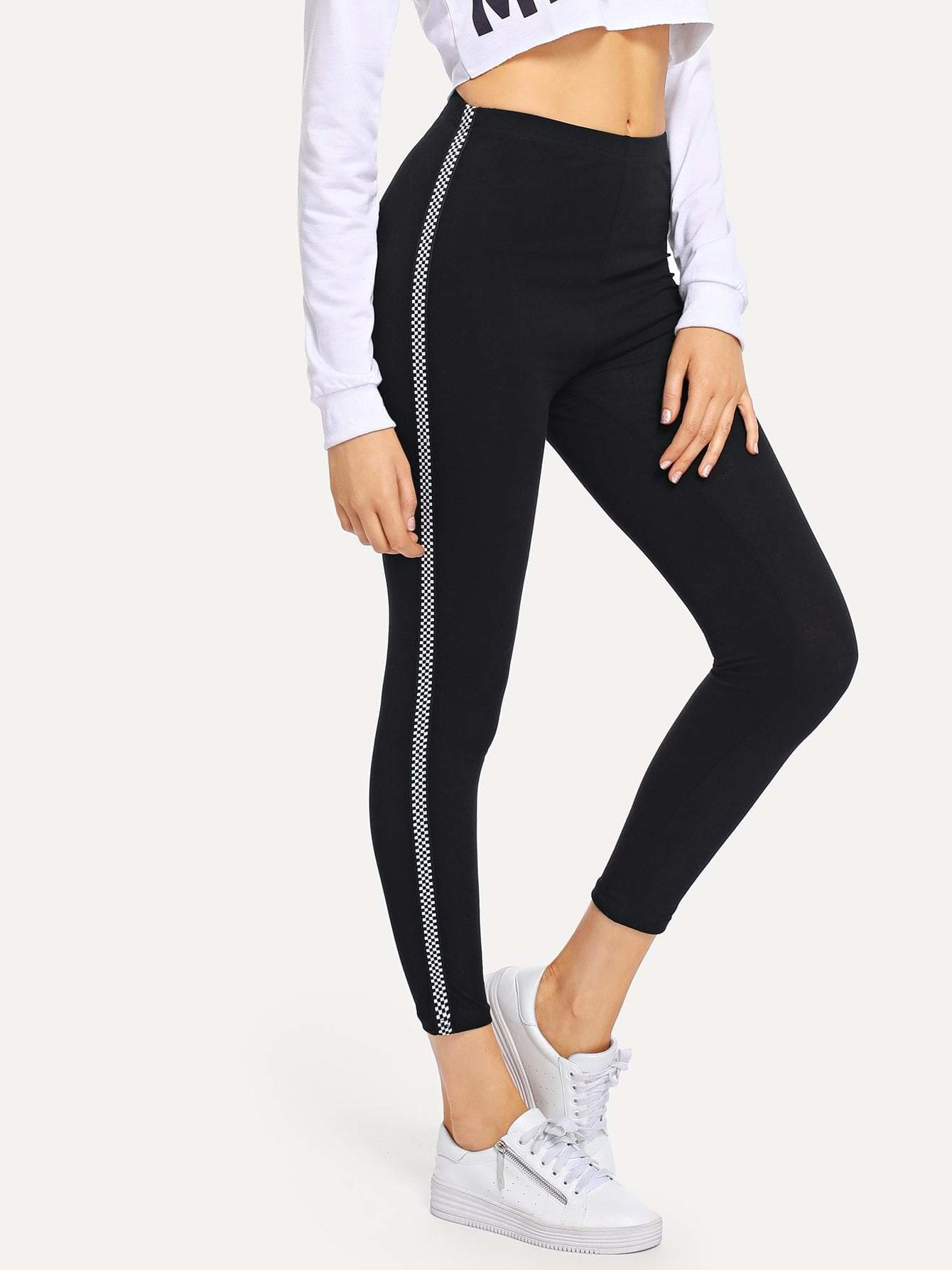 Checkered Side Leggings - Fittness Leggings