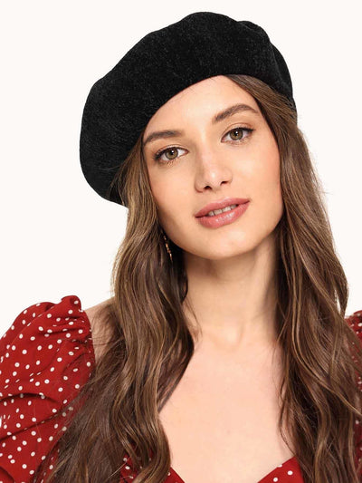 Chenille Plain Beret Cap - Hats & Gloves