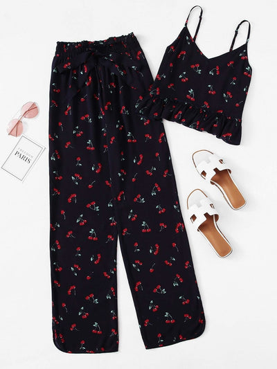 Cherry Print Ruffle Cami & Pants Pj Set - Nightwears