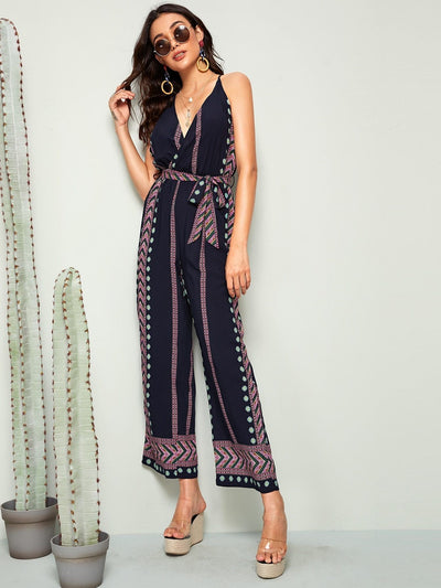 Chevron & Aztec Wide Leg Belted Tank Jumpsuit - Womens Jumpsuits
