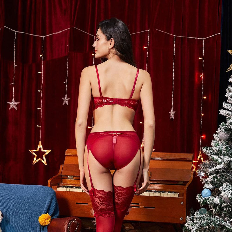 Christmas Push Up Lace Lingerie Set - Red / 75B - Lingerie