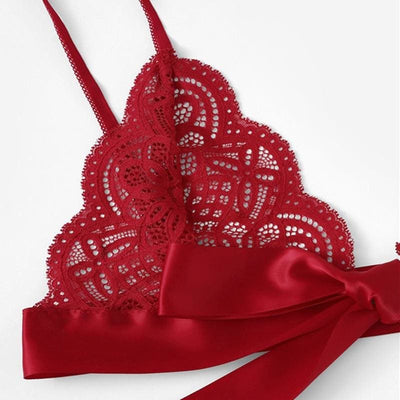 Christmas Scalloped Trim Tie Side Sexy Lingerie Set - Lingerie
