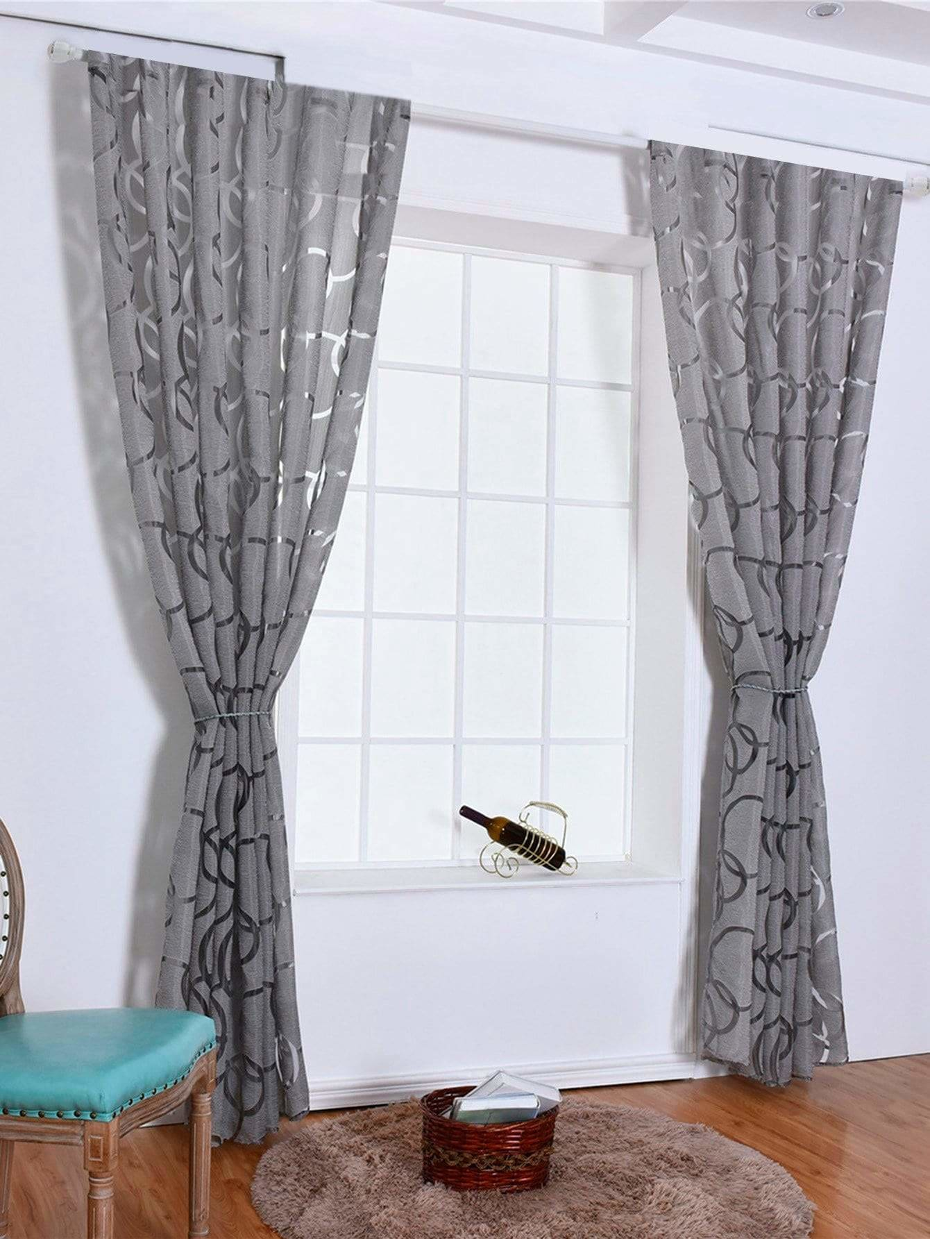 Circle Design Eyelet Sheer Curtain 1pc - Curtains