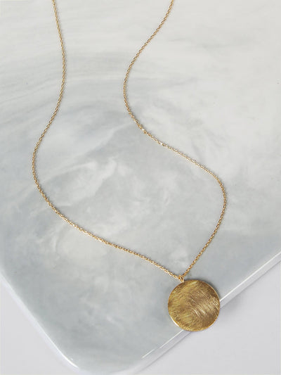 Circle Pendant Gold Necklace - Necklaces