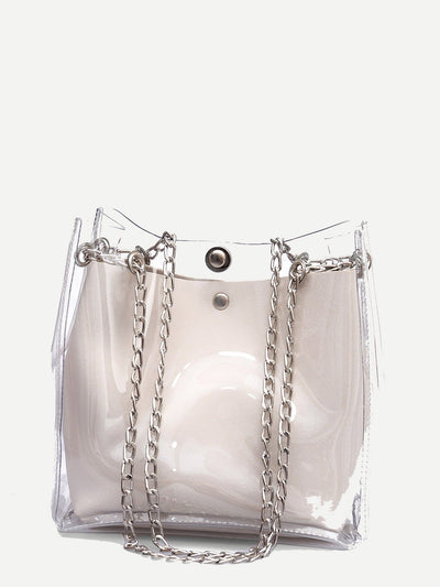 Clear Chain Tote Bag With Inner Pouch - Womens Bag