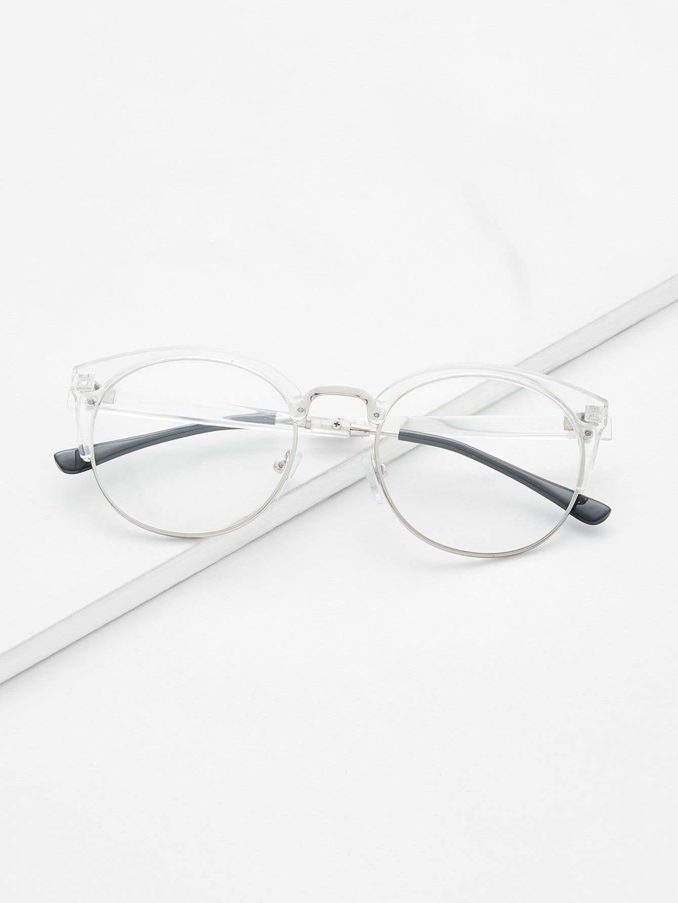 Clear Frame Glasses With Clear Lens - Sunglasses