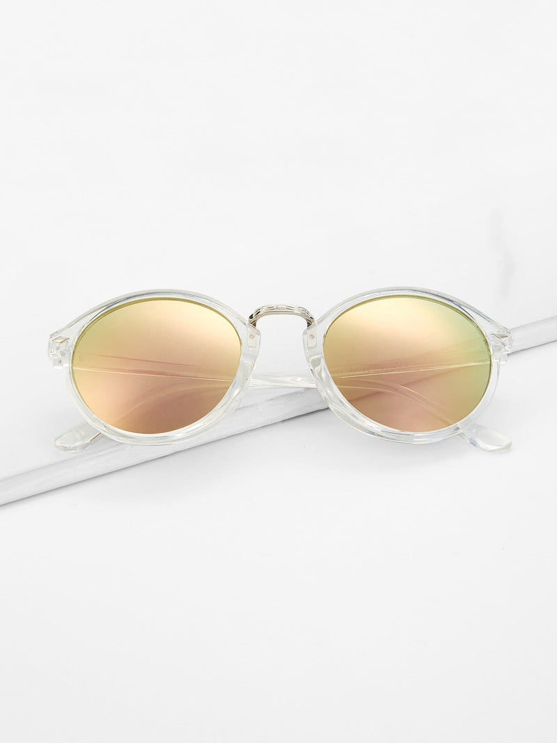 Clear Frame Mirror Lens Sunglasses - Sunglasses