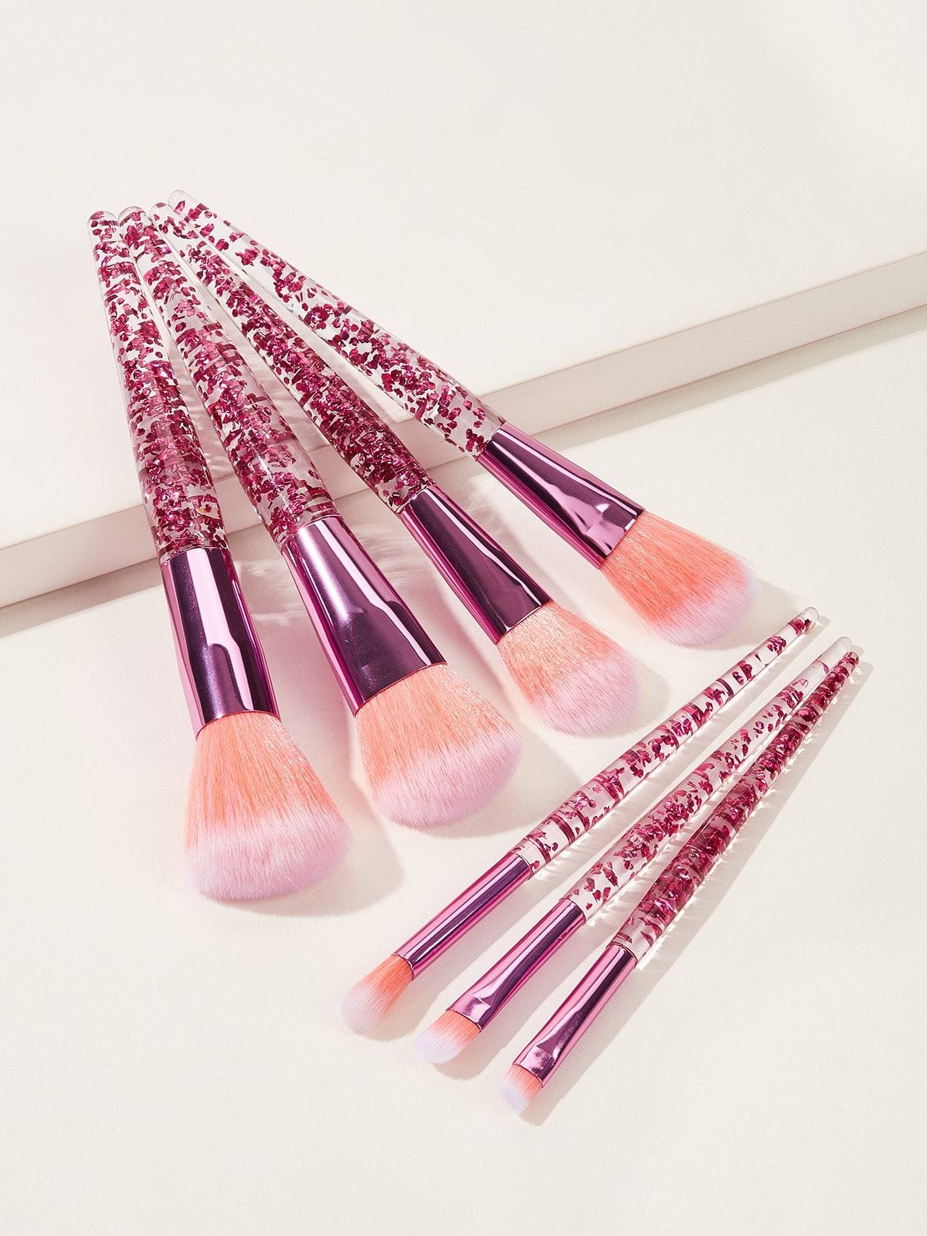 Clear Handle Makeup Brush 7pcs