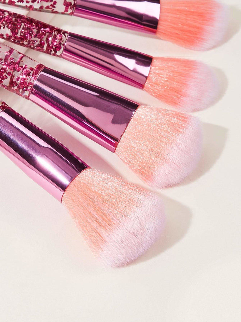 Clear Handle Makeup Brush 7pcs - Pink - Makeup Brushes