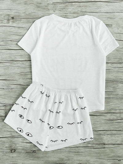 Closed Eyes Print Tee And Shorts Pajama Set - Nightwears