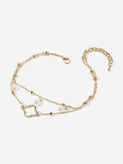Clover Design Layered Chain Anklet Body Jewelry - Body Jewelry