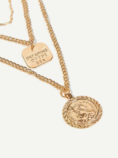 Coin Pendant Layered Chain Festival Necklace 1pc - Necklaces