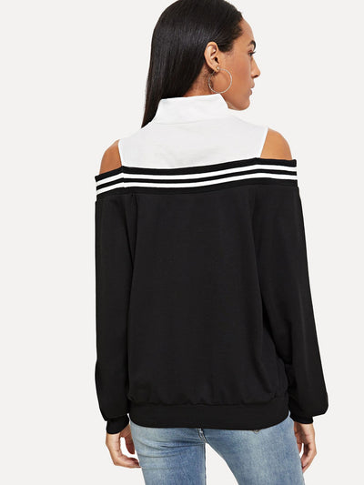 Cold Shoulder Zip Front Sweatshirt - Gym Tops