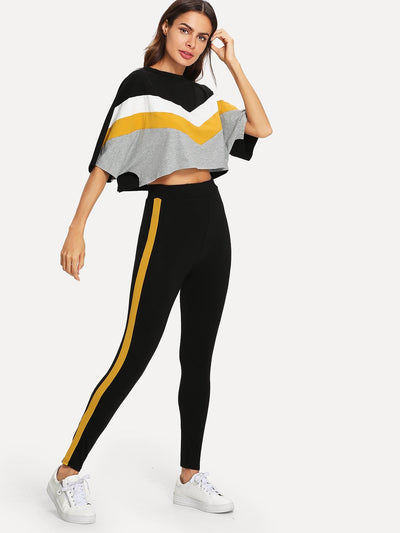 Color Block Batwing Sleeve Sportsuit - Sportsuit
