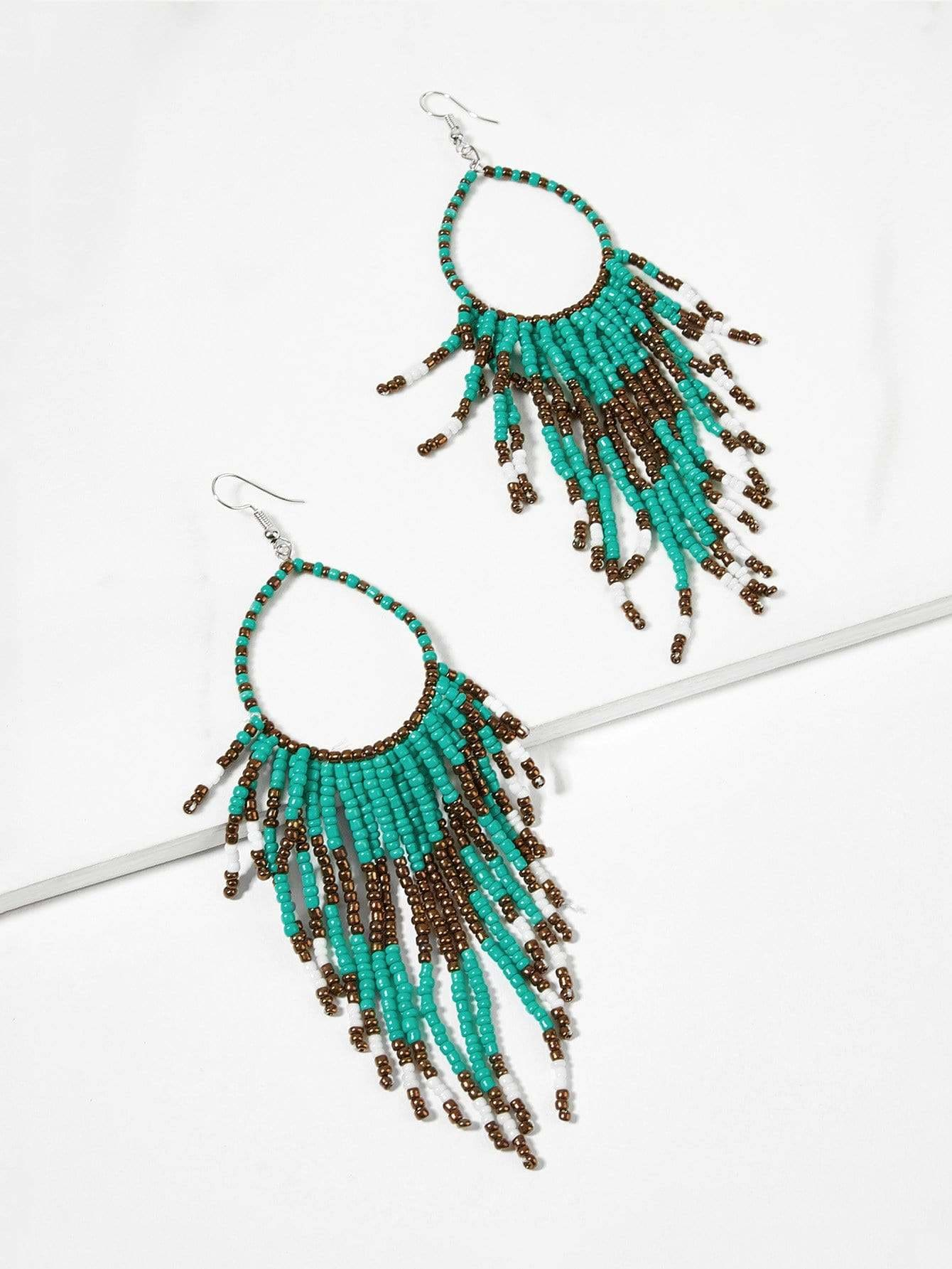 Color Block Beaded Tassel Drop Earrings 1pair - Colorful - Earrings