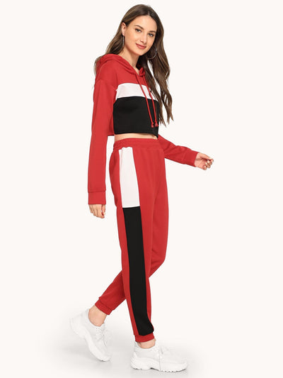Color Block Drawstring Top With Pants - Sportsuit