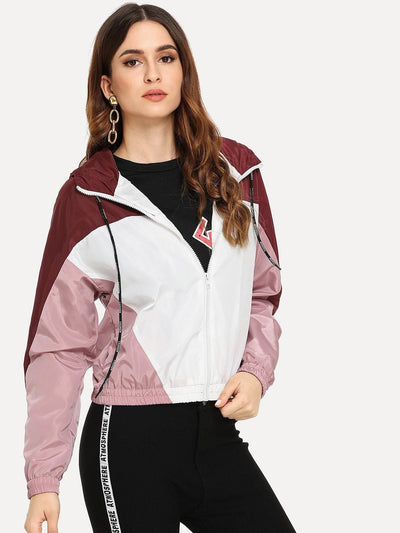 Color Block Hooded Jacket - Gym Tops