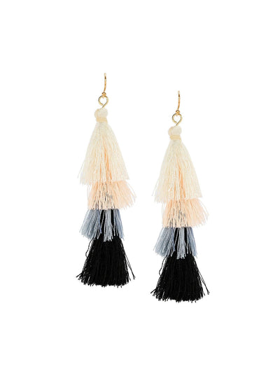 Color Block Layered Tassel Drop Earrings - Earrings