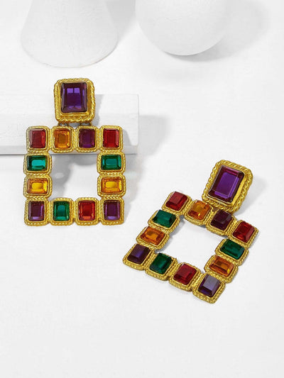 Color Block Open Square Drop Earring - Earrings