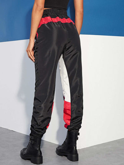 Color-block Slant Pocket Tapered Pants - Fittness Leggings
