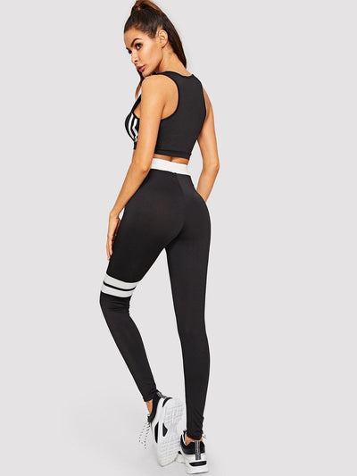 Color Block Sport Bra & Leggings Set - Sportsuit