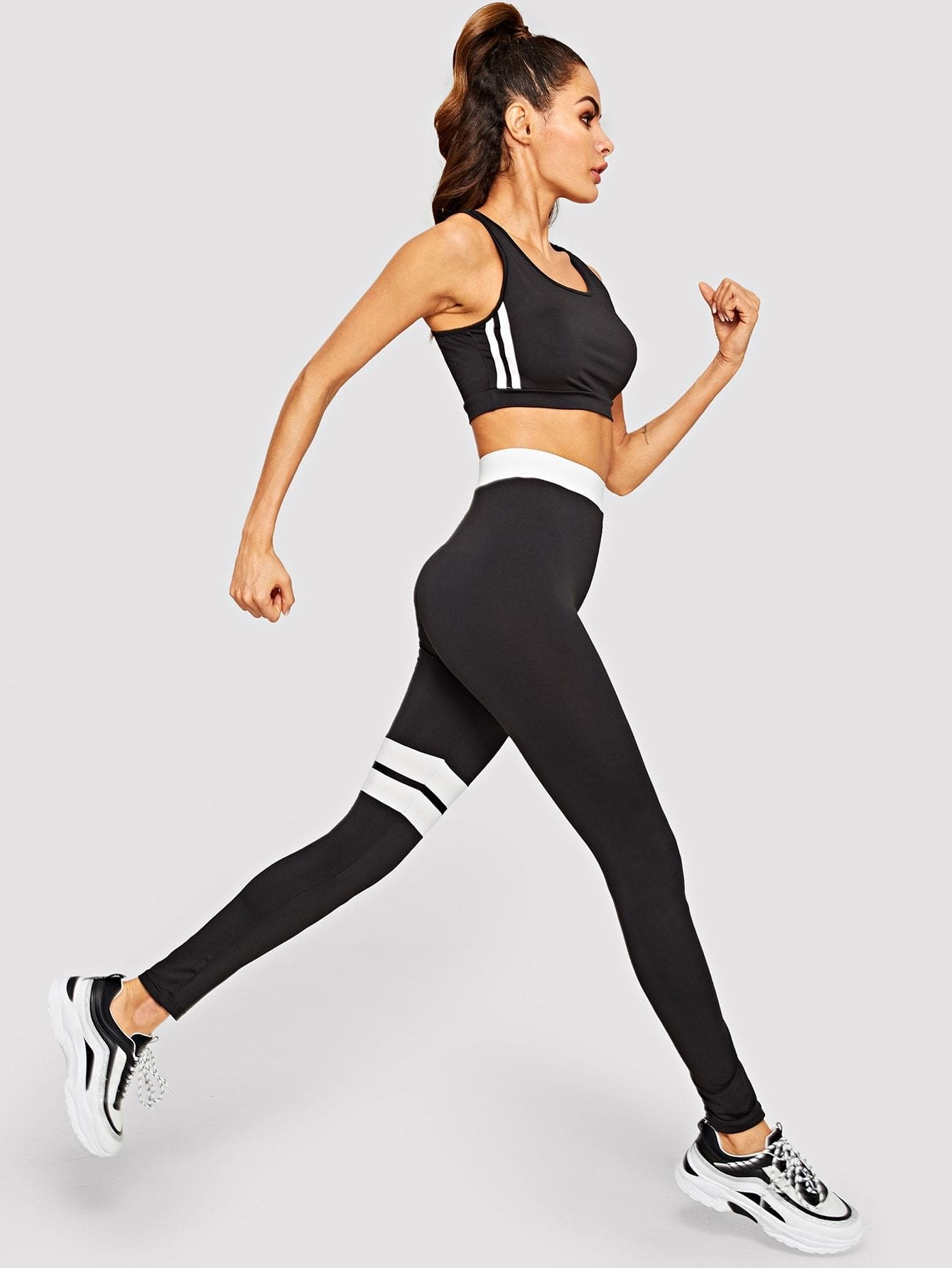 Color Block Sport Bra & Leggings Set - S - Sportsuit